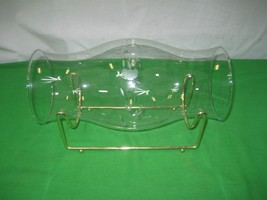 Clear Crystal Etched Glass Centerpiece with Brass Stand - $13.98