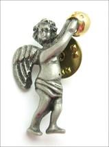 Weird Odd Little Cherub Angel Pewter Lapel Pin Vintage Christmas Goldtone Camco - $12.99