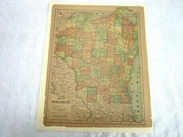 """Antique Hand Colored 11"""" x 14"""" Map of 1890 Wisconsin United States of Am... - $18.80"""