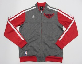 New With Tags Adidas Nba Atlanta Hawks Zip Up Grey Athletic Jacket Adult Size L - $98.95