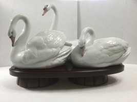 LLADRO Spain Three Porcelain Swan Sculptures on Footed Wood Base Large 11 x 16 - $765.00