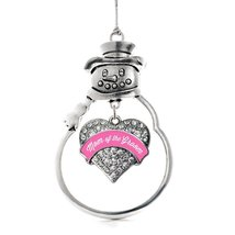 Inspired Silver Pink Mom of the Groom Pave Heart Snowman Holiday Decoration Chri - $14.69