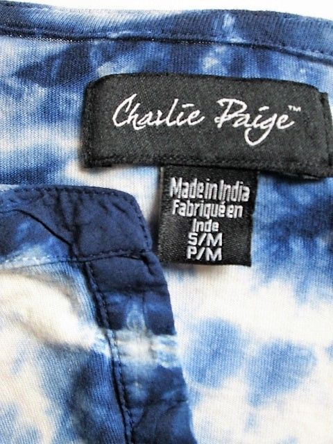 CHARLIE PAIGE WOMENS  P/M LONG SLEEVE BLUE WHITE TIE DYE STRETCH TOP BLOUSE (H)P