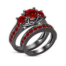 925 Sterling Silver Round Cut Red Garnet Stone Womens Wedding Bridal Ring Set - $94.99
