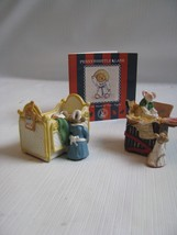 2 Miniatures by Peter Fagan Pennywhistle Lane Enesco 1994 MICE Nanny and Kids - $14.85