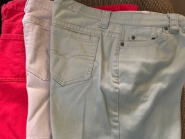 Three Women's Faded Glory Denim Shorts Size 8  Red, Beige, Olive - $7.25