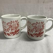 Vintage Grindley Inglaterra Rojo Flor Café Taza Conjunto De Dos - $11.98