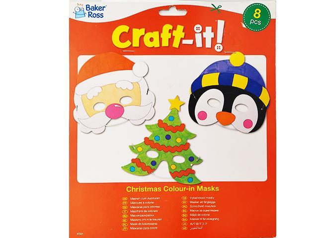 Baker Ross Craft It-Christmas Color-in Masks for Children, 8 Pieces- #100864172