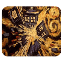 Mouse Pads Doctor Who Tardis Beautiful Elegant Van Gogh Paint Anime Mousepads - $6.00