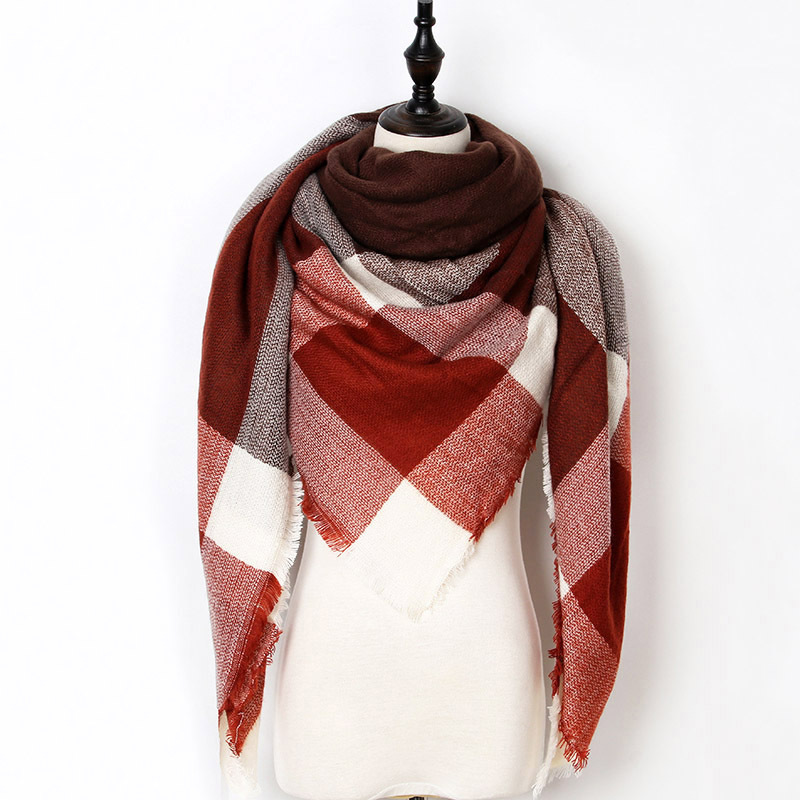 2017 New Fashion Winter Scarf For Women Scarf Luxury Brand Triangle Plaid Warm C image 3
