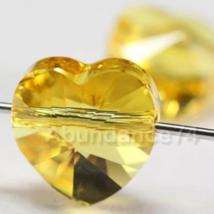 Genuine Swarovski Crystal Elements 5742 Heart Beads LIGHT TOPAZ - 8mm, 2... - $10.40