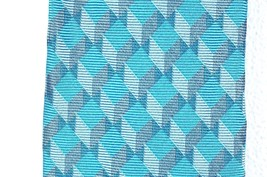 NEW MENS ALFANI RED LABEL AQUA BLUE MOORE GEOMETRIC 100% SILK NECK TIE image 2