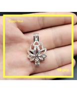 10 pcs Pearl Cage Pendant Shape Creative Lotus  Bright Silver Trendy Fun... - $14.80