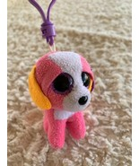 Ty Beanie Boo Pink Orange Purple Puppy Dog Keychain Backpack Toy - $6.43
