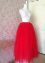 Women's Red Tulle Skirt Floor Length Red Maxi Tulle Skirt High Waist Prom Skirt image 5