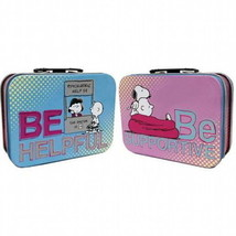 Peanuts Characters Be Helpful, Be Supportive Mini Tin Tote Lunchbox, NEW... - $8.79