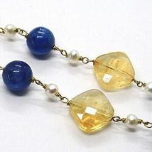 Necklace Silver 925, Yellow, Quartz Citrine Faceted, Kyanite, Pearls Round image 3