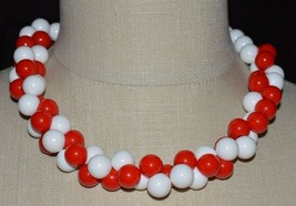 Vintage Red White Acrylic Twist Twisted Bead Choker Necklace - $29.70