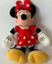 Disney Minnie Mouse Plush Doll Red White Polka Dot Dress Bow Stuffed Ani... - $8.90