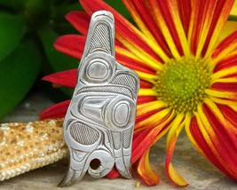 Native American Haida Flying Eagle Pendant David Kenneth Quist Silver - $239.95