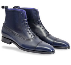 Handmade Men's Ankle High Leather Boots, Men's Navy Blue Cap Toe Lace Up... - $159.99+