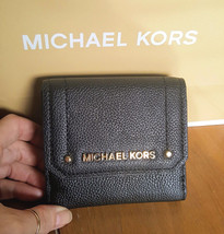 Michael Kors Medium Trifold Black Leather Coin Case Wallet Nwt - $79.99