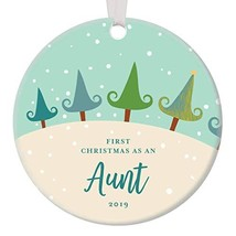 1st Year Aunt Christmas Anniversary Ornament 2019 Decorated Pine Tree Xmas Chic