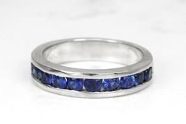 1.10 Ctw Round Cut Blue Sapphire 10K Solid Gold Channel Set Wedding Band... - €334,93 EUR