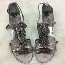 Nina Women's Silver Fringe Glittery Heels Shoes Size 8M Party Wedding  - $23.36