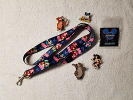 Disney Mickey Mouse Lanyard + 5 Trading Pins - Mowgli Baloo King Louie P... - $8.95