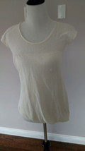 EUC THEORY Linen Silk Blend Ivory Knit Top SZ P - $39.59