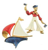 Vintage French Gold Tone Red Wht Blue Enamel Sailor Sail Boat Lg Pin Set... - $107.99