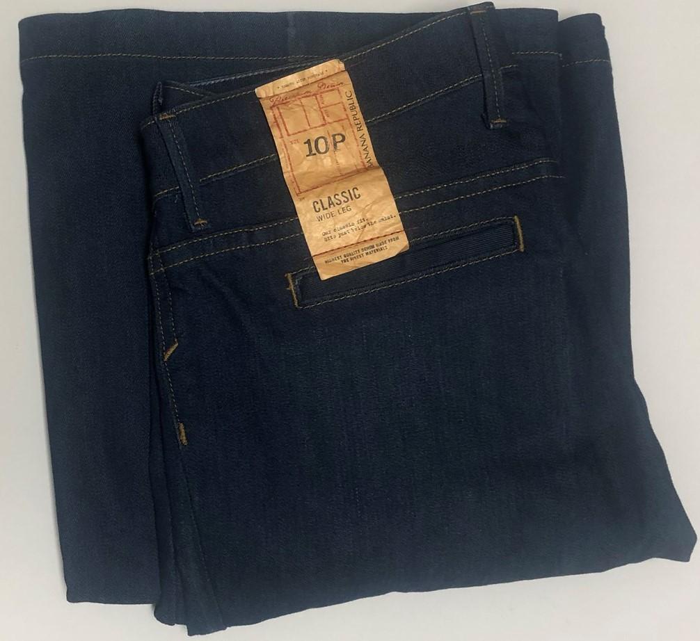 Banana Republic Classic Jeans Sz 10P Stretch Medium Blue Wide Leg image 7