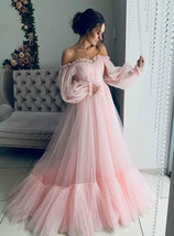 Pink Tulle Long Sleeve Off the Shoulder Pleats Prom Dress A-Line Evening... - £122.19 GBP