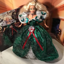 Happy Holidays Blonde Barbie In Green Shimmer Ball gown, New OOB - $9.50