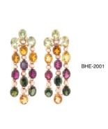 Multicolor Tourmaline Earrings in 14 K Rose Gold RRP $4,060 - $1,202.00