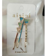 Set of Three HAIR CLIPS Metal Hairclips Hairpins BLUE TRIANGLE >5.5 cm L... - $8.88