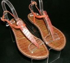 Sam Edelman Gigi orange leather snake print buckle thong sandal flats 8.5M  - $31.43