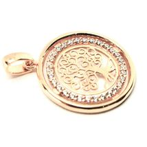 Pendant Tree of Life Gold 18K 750 Pink and Zircon Cubic image 4