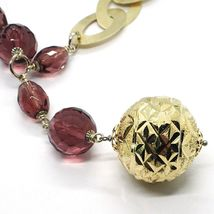 Necklace Silver 925, Ovals Satin, Big Sphere Worked, Spheres Purple image 3