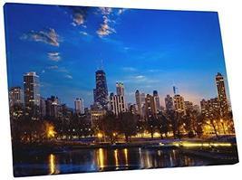 "Pingo World 0429QARTUBG ""Chicago Downtown Night Skyline"" Gallery Wrapped... - $57.37"