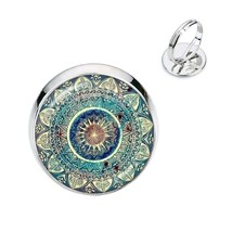 Charm Mandala Art Picture Rings Henna Yoga Om Symbol Zen Buddhism Glass ... - $7.78