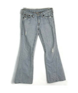 True Religion Womens Jeans Size 30 Light Wash Flare Leg Distressed Flap ... - $62.77