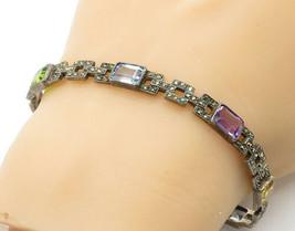 925 Sterling Silver - Vintage Citrine Topaz & Peridot Chain Bracelet - B... - $43.85