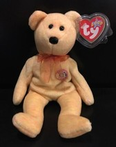 Ty Beanie Babies Sunny 2000 Orange/Yellow Bear Tag Protector E-Mail e Glitter - $10.84