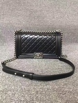 AUTHENTIC CHANEL LE BOY BLACK LAMBSKIN MEDIUM FLAP BAG RHW image 1