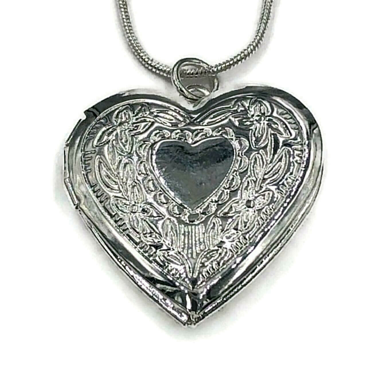 Primary image for Heart Photo Locket Pendant Necklace 925 Sterling Silver NEW