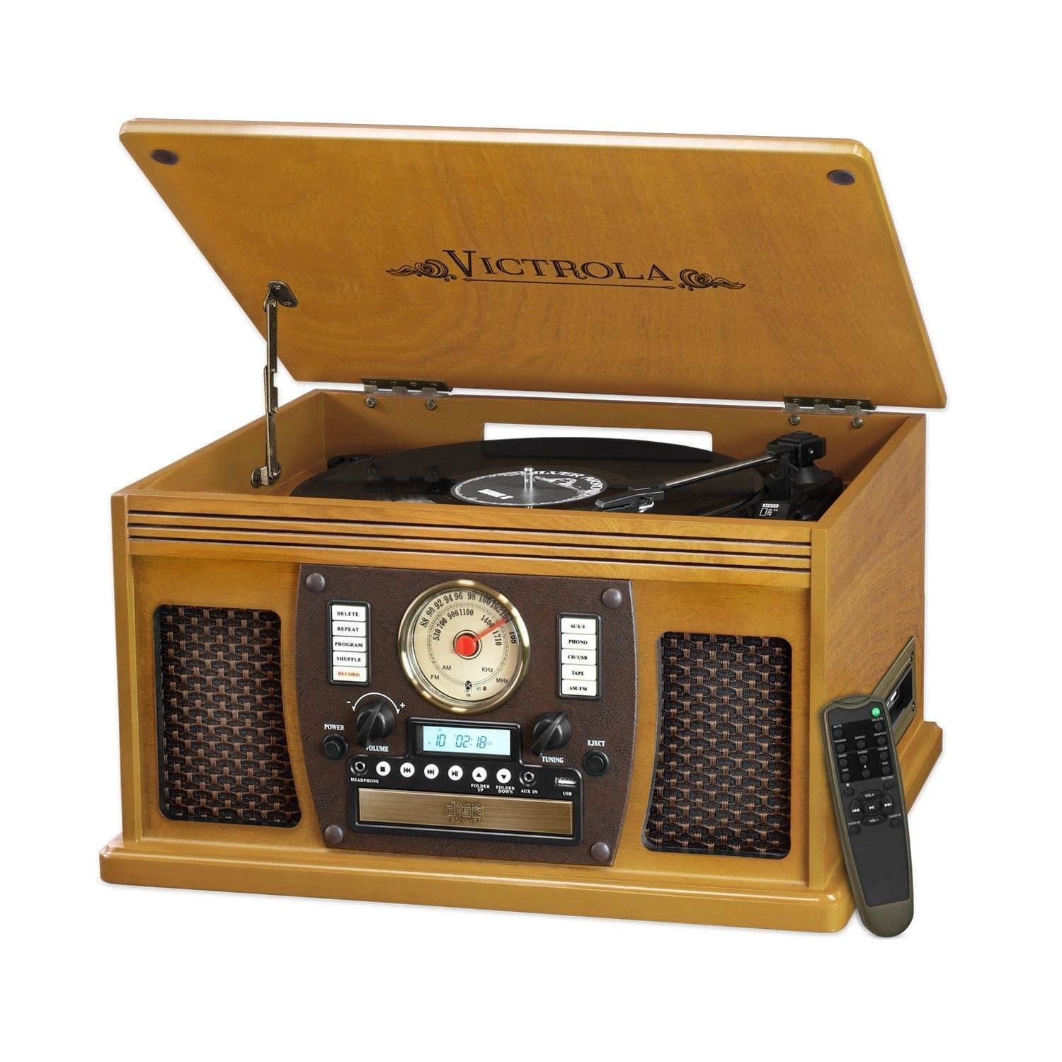 Victrola Nostalgic Aviator Wood 8-in-1 Bluetooth Turntable Entertainment Cent...