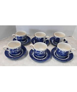CHURCHILL ENGLAND SET OF 6 CUP AND SAUCERS BLUE WILLOW - $47.52