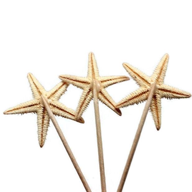 20 Real Starfish Toothpicks for Beach Wedding Shell Tiki Bar Party